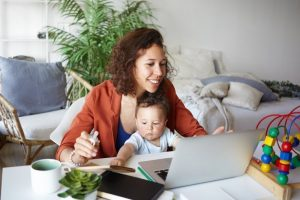 working at home with children